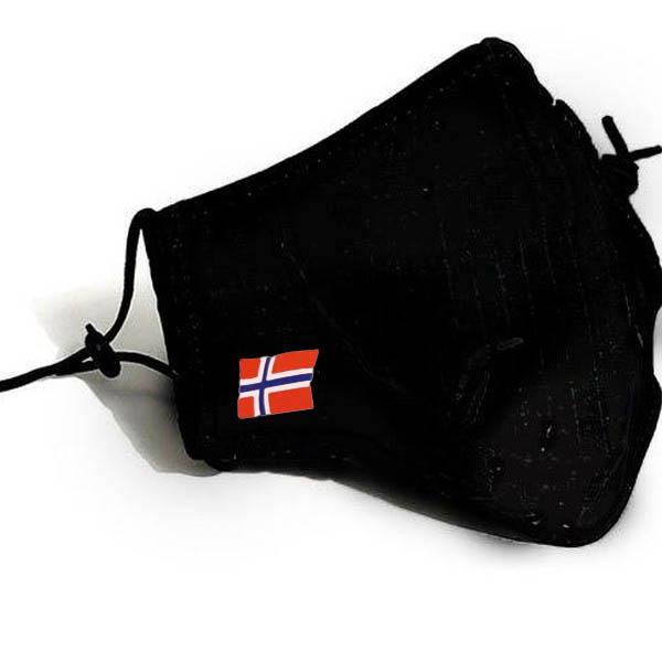 Munnbind-sort-norsk-flagg